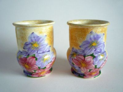 Lovely Pair of E Radford 'CJ' Floral Pattern Vases c1935